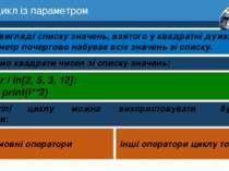 7 Цикл із параметром Розділ 1 § 3 □ У вигляді списку значень, взятого у квадр...