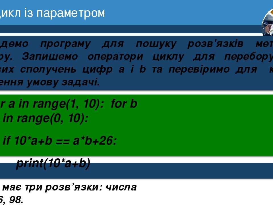 7 Цикл із параметром Розділ 1 § 3 Складемо програму для пошуку розв'язків мет...
