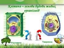 Клітина – основа будови живих організмів Рослинна Тваринна