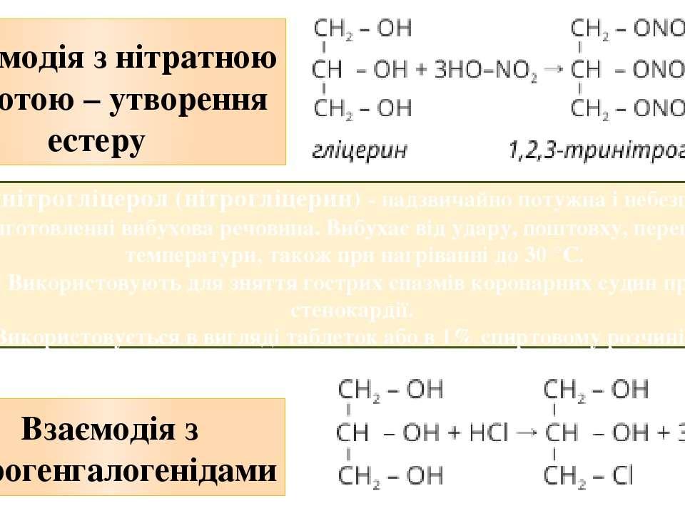 Взаємодія з нітратною кислотою – утворення естеру Взаємодія з гідрогенгалоге...