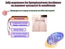 Проводиться перед початком антибіотикотерапії Оснащення Стерильна скляна банк...