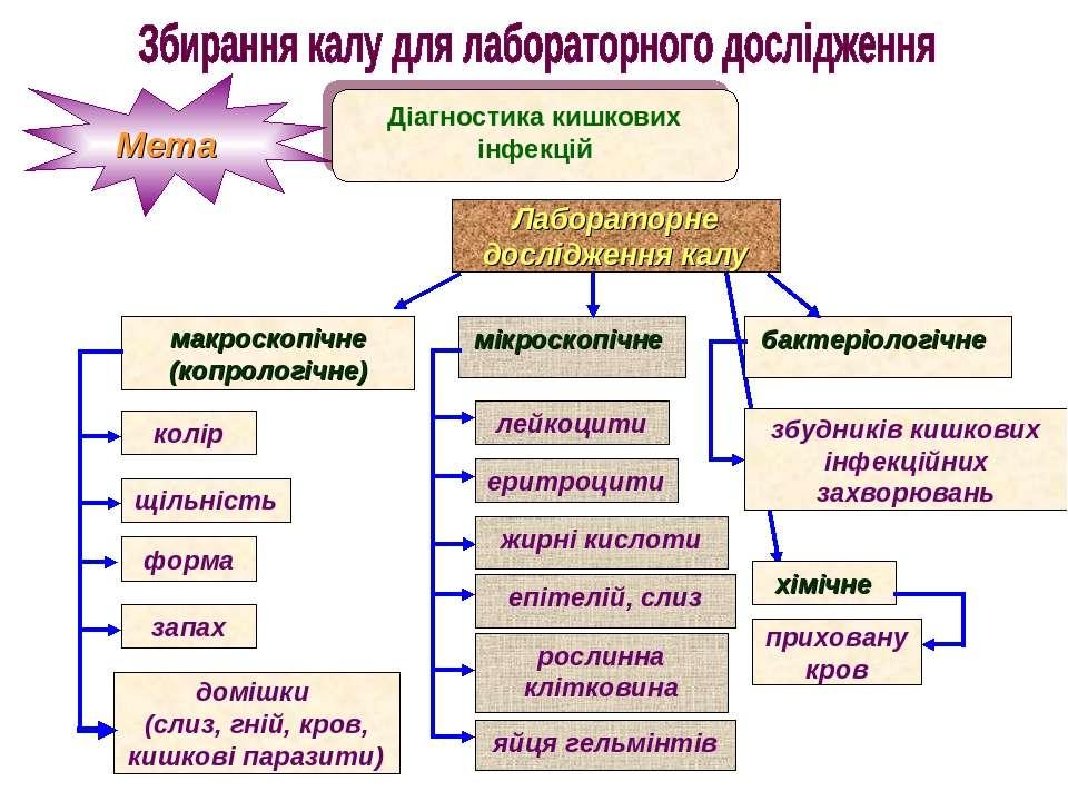 Мета Діагностика кишкових інфекцій Лабораторне дослідження калу макроскопічне...