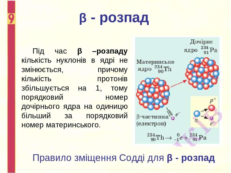 Під час β –розпаду кількість нуклонів в ядрі не змінюється, причому кількість...