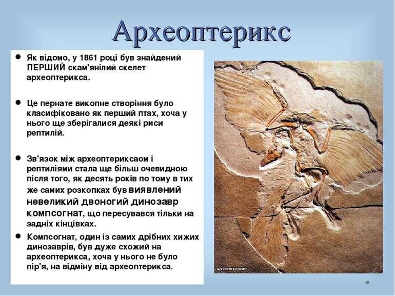 Археоптерикс Як відомо, у 1861 році був знайдений ПЕРШИЙ скам'янілий скелет а...