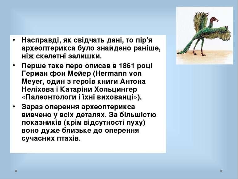 Насправді, як свідчать дані, то пір'я археоптерикса було знайдено раніше, ніж...