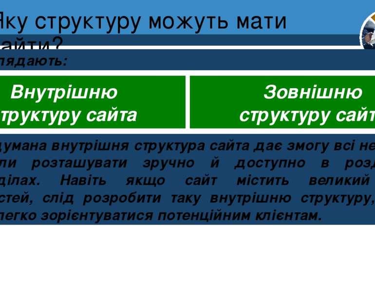 Яку структуру можуть мати сайти? Розділ 1 § 4 Розглядають: Внутрішню структур...