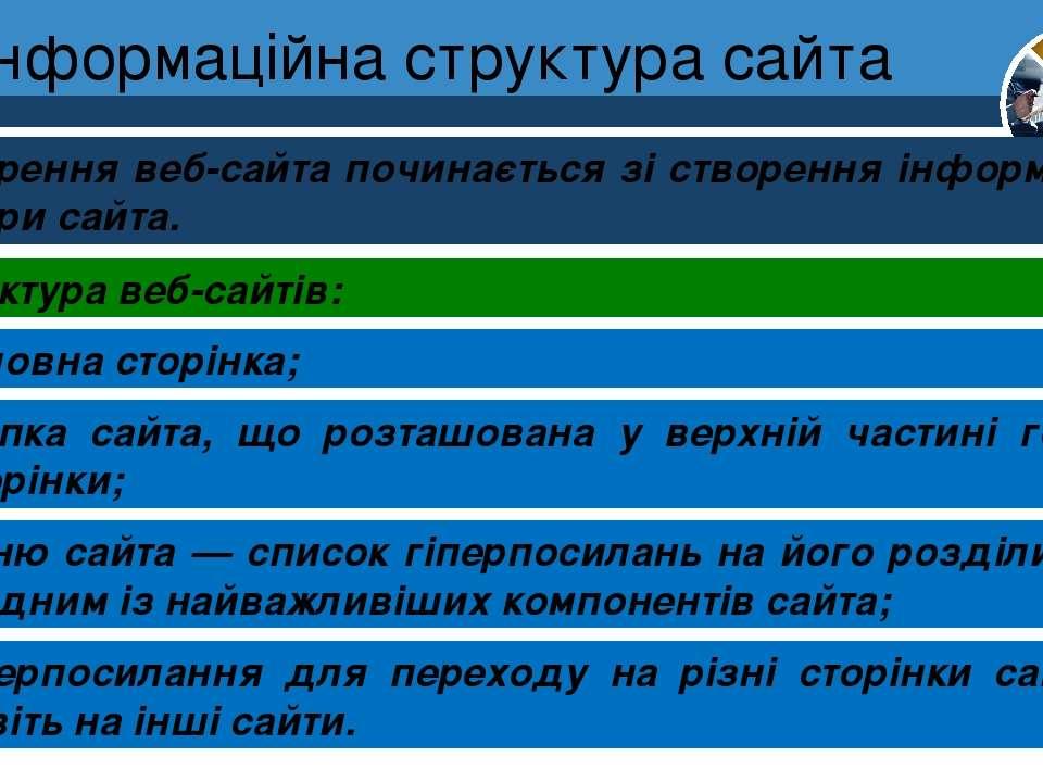 Інформаційна структура сайта Розділ 1 § 4 Cтворення веб-сайта починається зі ...