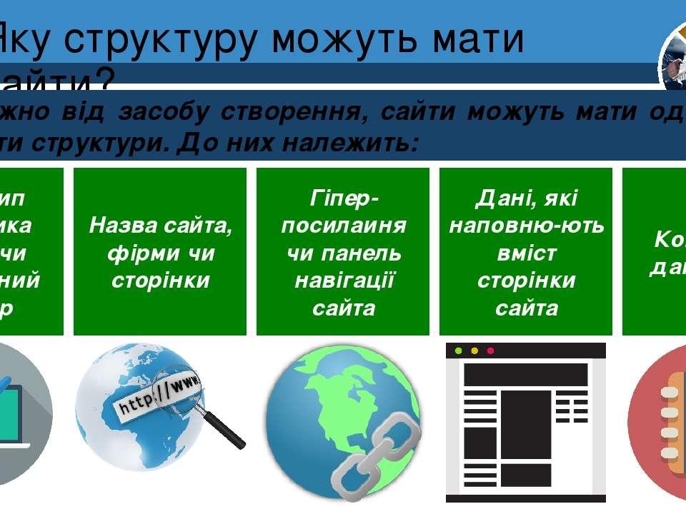 Яку структуру можуть мати сайти? Розділ 1 § 4 Залежно від засобу створення, с...