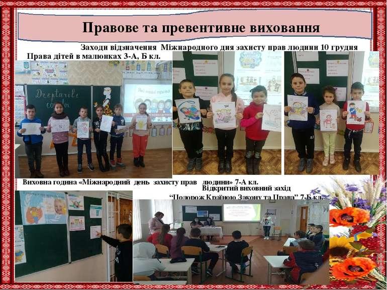 Правове та превентивне виховання Заходи відзначення Міжнародного дня захисту ...