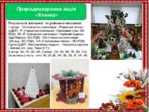 Природоохоронна акція «Ялинка» Результати шкільної та районної виставки: 1 мі...