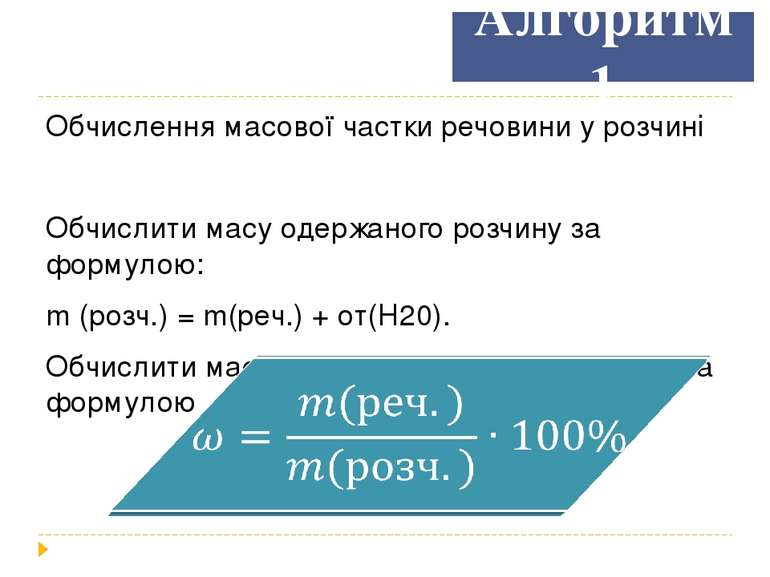 Алгоритм 1 Обчислення масової частки речовини у розчині Обчислити масу одержа...