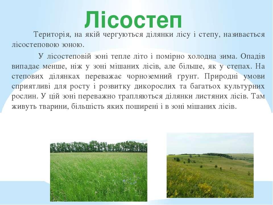 Лісостеп Територія, на якій чергуються ділянки лісу і степу, називається лісо...