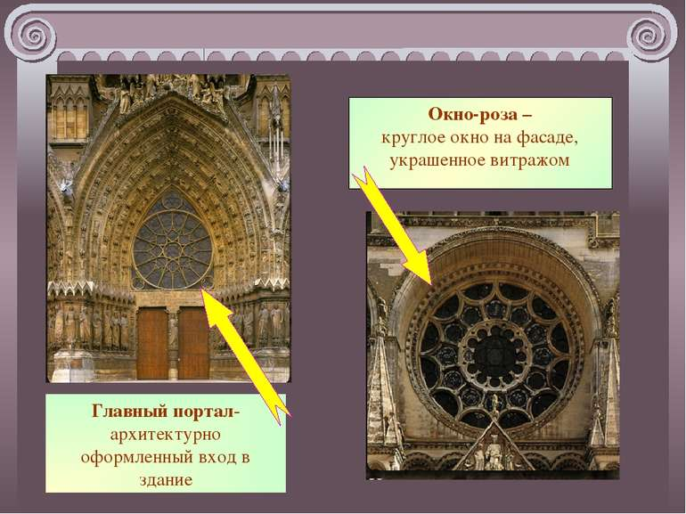 Главный портал-архитектурно оформленный вход в здание Окно-роза – круглое окн...