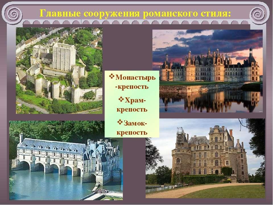 Монастырь-крепость Храм-крепость Замок-крепость Главные сооружения романского...