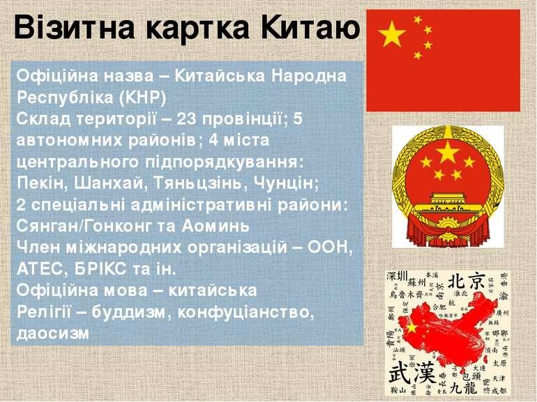 Візитна картка Китаю Офіційна назва– Китайська Народна Республіка (КНР) Скла...