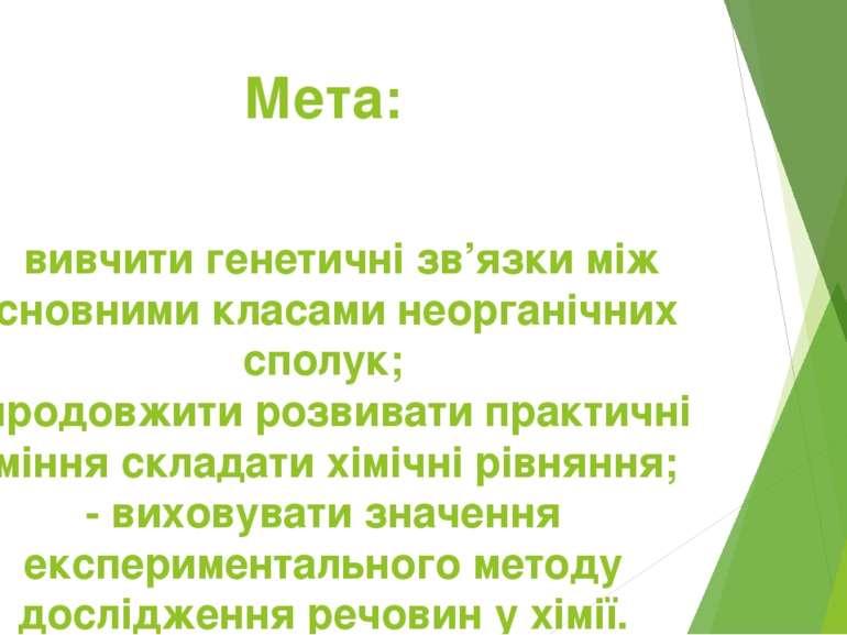 Мета: - вивчити генетичні зв'язки між основними класами неорганічних сполук; ...