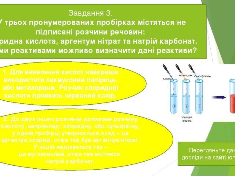 Завдання 3. У трьох пронумерованих пробірках містяться не підписані розчини р...