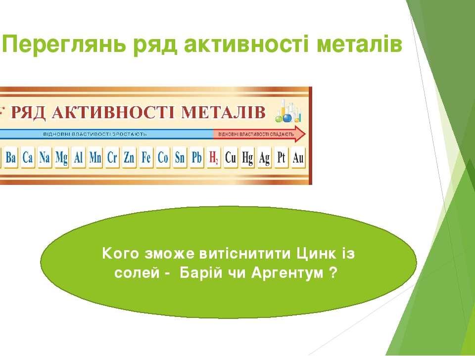 Переглянь ряд активності металів Кого зможе витіснитити Цинк із солей - Барій...