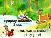 Природознавство 2 клас Тема. Життя тварин влітку у лісі