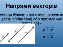 Вектори бувають однаково напрямлені (співнапрямлені) або протилежно напрямлен...