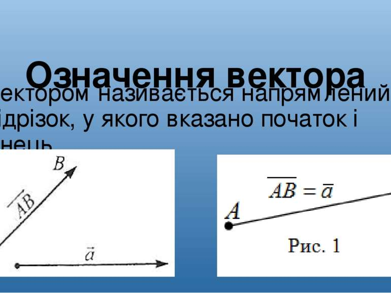 Означення вектора Вектором називається напрямлений відрізок, у якого вказано ...
