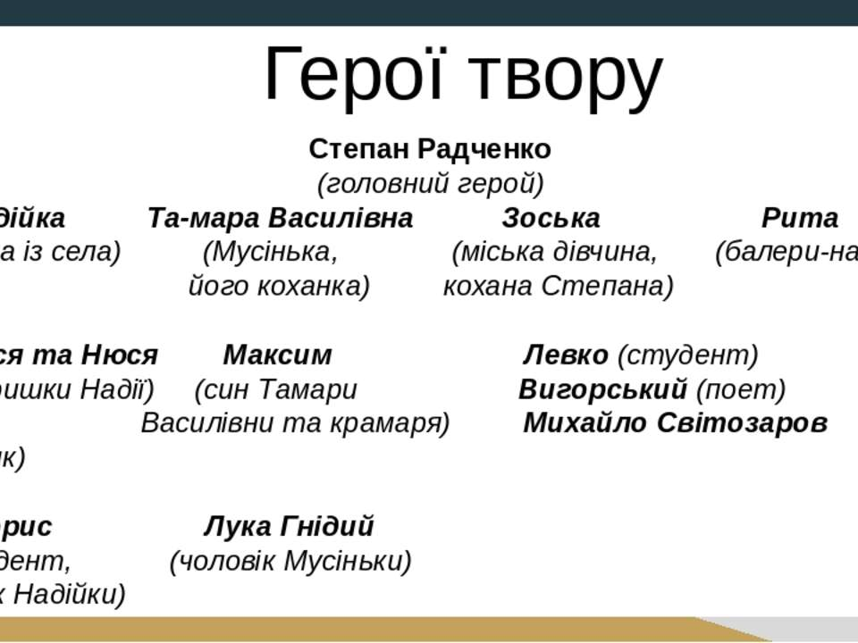 Степан Радченко (головний герой) Надійка Та мара Василівна Зоська Рита (дівчи...