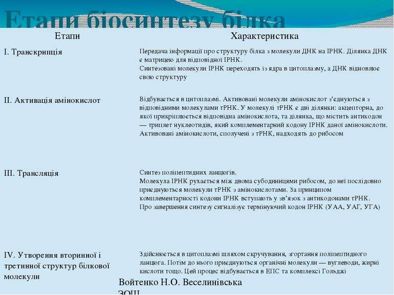 Етапи біосинтезу білка Войтенко Н.О. Веселинівська ЗОШ Етапи Характеристика І...