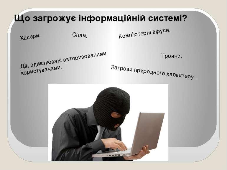 Що загрожує інформаційній системі? Комп'ютерні віруси. Спам. Хакери. Дії, зді...