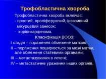 Трофобластична хвороба Трофобластична хвороба включає: - простий, проліферуюч...