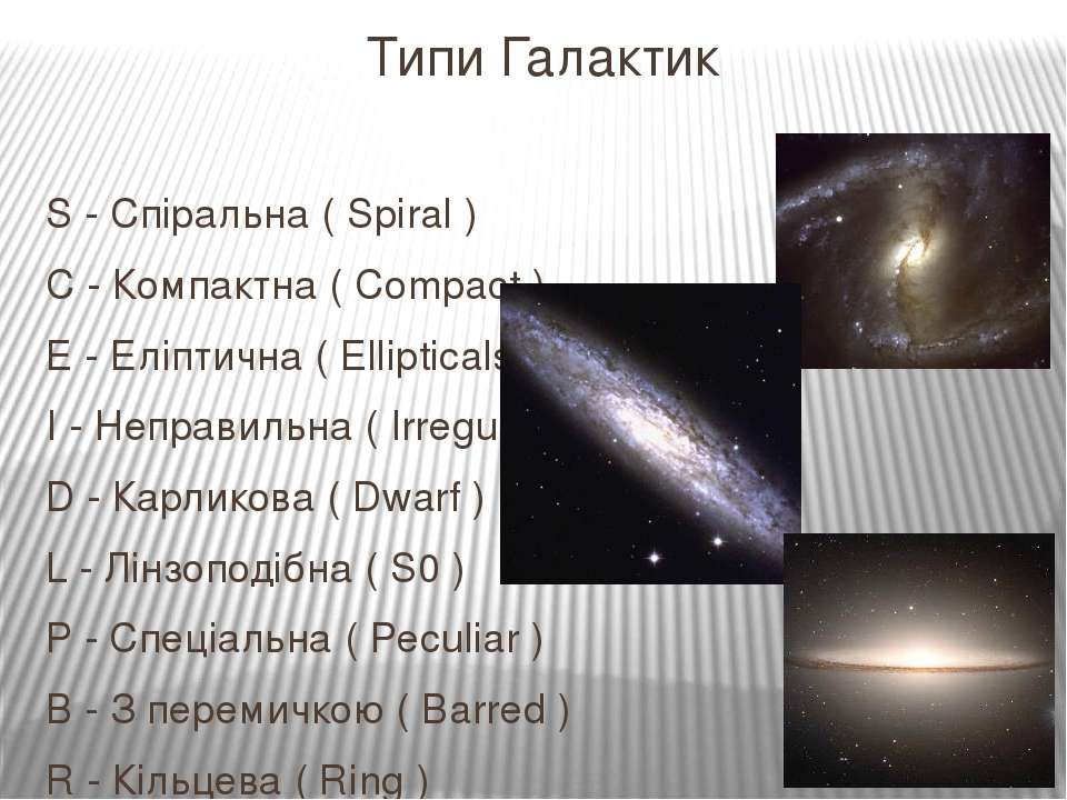 Типи Галактик S - Спіральна ( Spiral ) C - Компактна ( Compact ) E - Еліптичн...