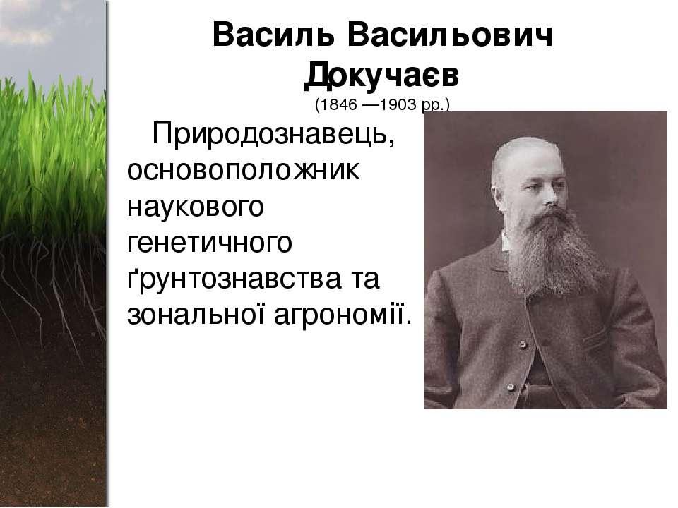 Василь Васильович Докучаєв (1846 —1903 рр.) Природознавець, основоположник на...