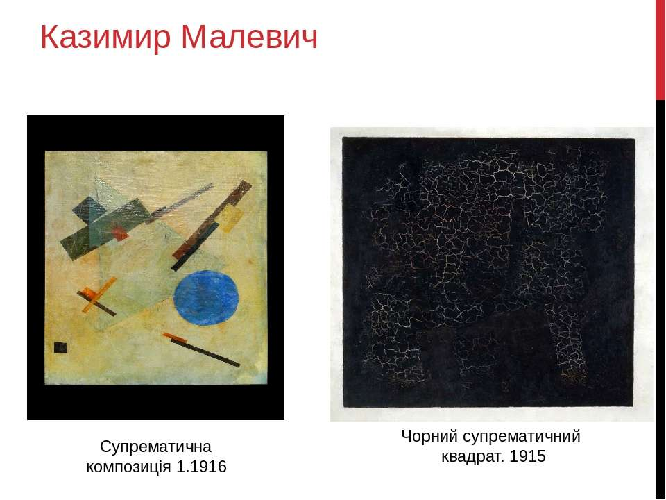 Казимир Малевич Супрематична композиція 1.1916 Чорний супрематичний квадрат. ...