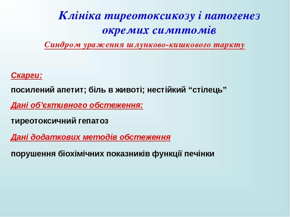 Клініка тиреотоксикозу і патогенез окремих симптомів Синдром ураження шлунков...