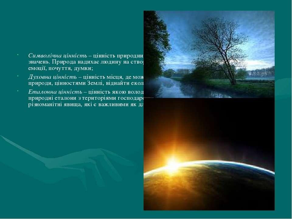 Символічна цінність – цінність природних кодових образів, для передачі різном...