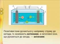 Позитивні іони рухаються у напрямку струму до катода, їх називають катіонами,...
