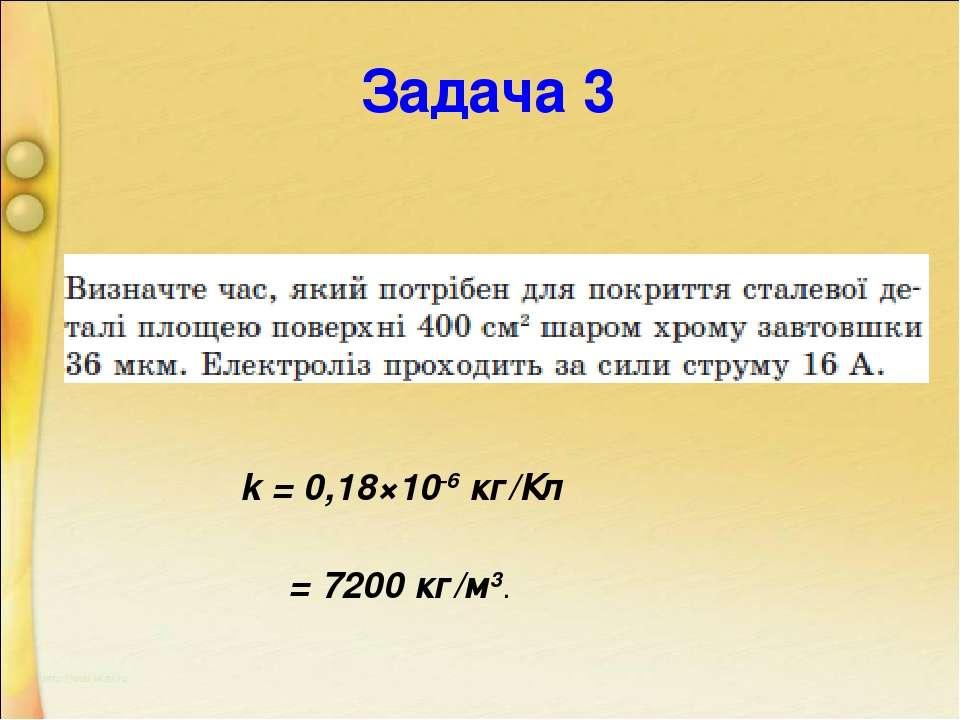 Задача 3 k = 0,18×10-6 кг/Кл ρ = 7200 кг/м3.