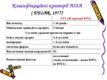 Класифікаційні критерії ЮХА ( EULAR, 1977) EULAR критерії ЮХА Вік початку < 1...