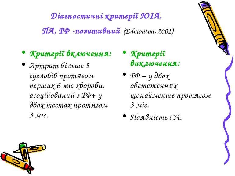 Діагностичні критерії ЮІА. ПА, РФ -позитивний (Edmonton, 2001) Критерії включ...