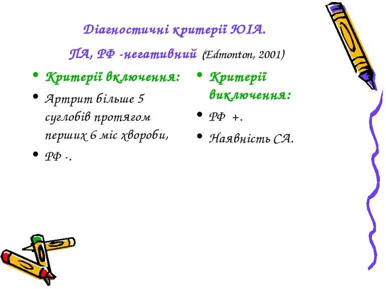 Діагностичні критерії ЮІА. ПА, РФ -негативний (Edmonton, 2001) Критерії включ...