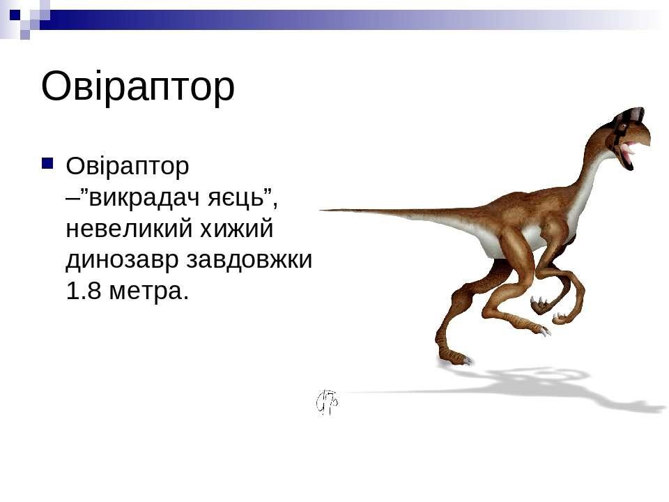 """Овіраптор Овіраптор –""""викрадач яєць"""", невеликий хижий динозавр завдовжки 1.8 ..."""