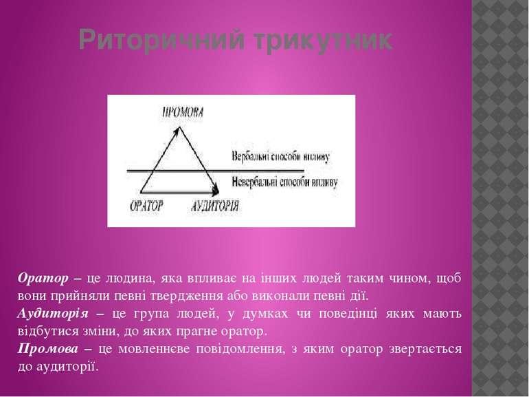 Риторичний трикутник Оратор – це людина, яка впливає на інших людей таким чин...