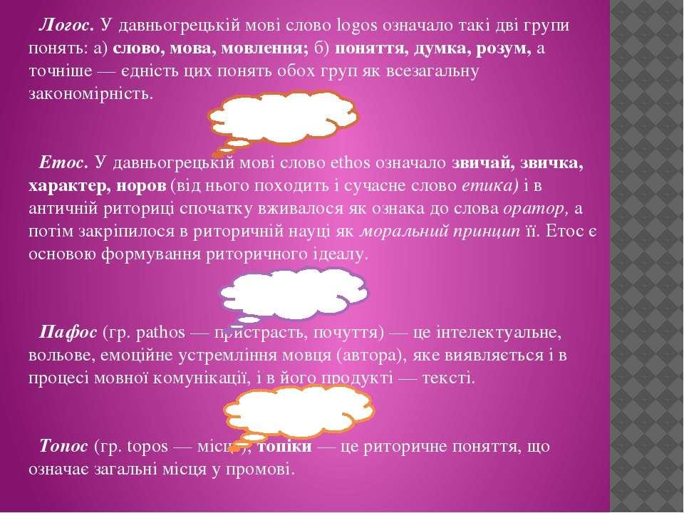 Логос. У давньогрецькій мові слово logos означало такі дві групи понять: а) с...