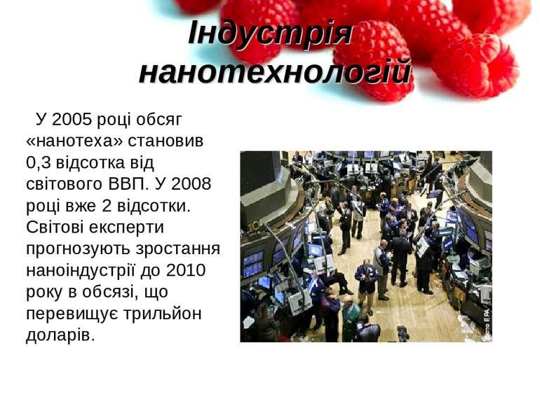 Індустрія нанотехнологій У 2005 році обсяг «нанотеха» становив 0,3 відсотка в...