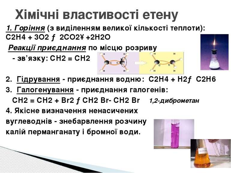 Хімічні властивості етену 1. Горіння (з виділенням великої кількості теплоти)...