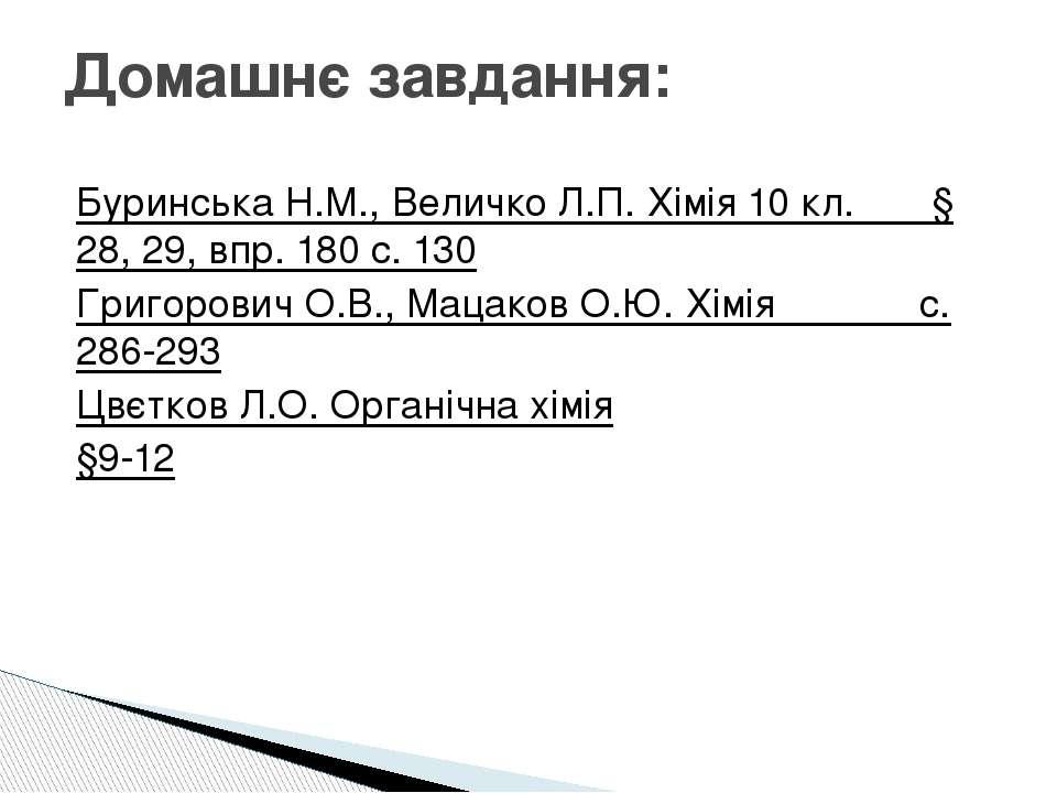 Домашнє завдання: Буринська Н.М., Величко Л.П. Хімія 10 кл. § 28, 29, впр. 18...
