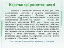 Коротко про розвиток галузі Початок її діяльності припадає на 1991 рік, коли ...