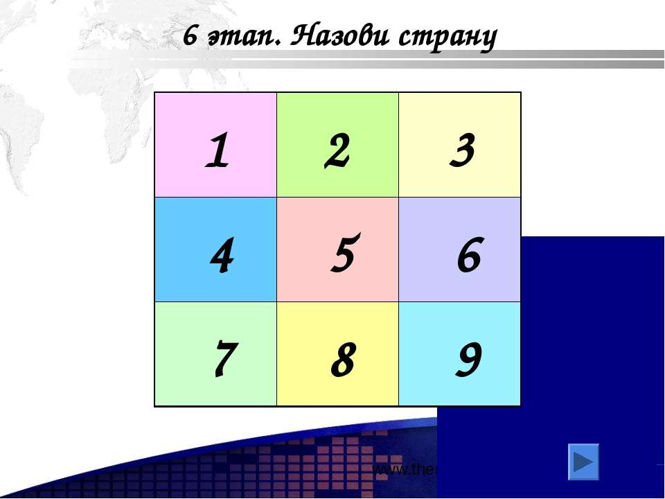 www.themegallery.com 6 этап. Назови страну 1 2 3 4 5 6 7 8 9 Add your company...