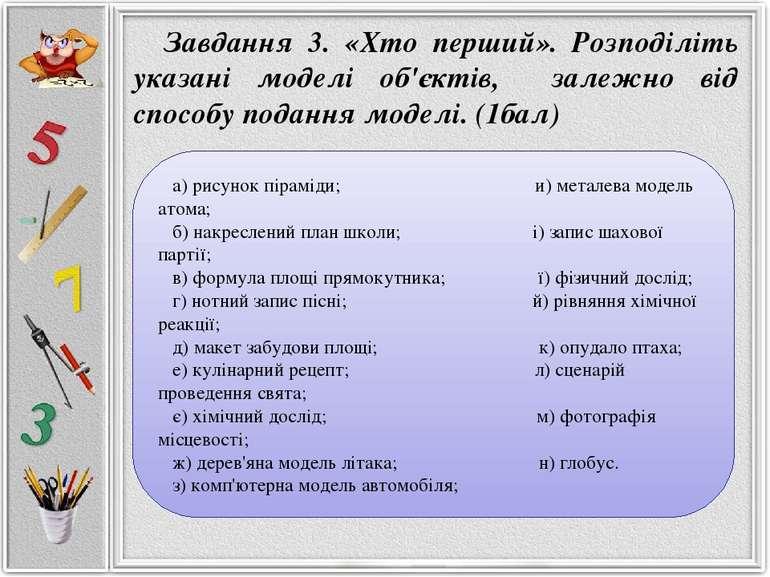 а) рисунок піраміди; и) металева модель атома; б) накреслений план школи; і) ...