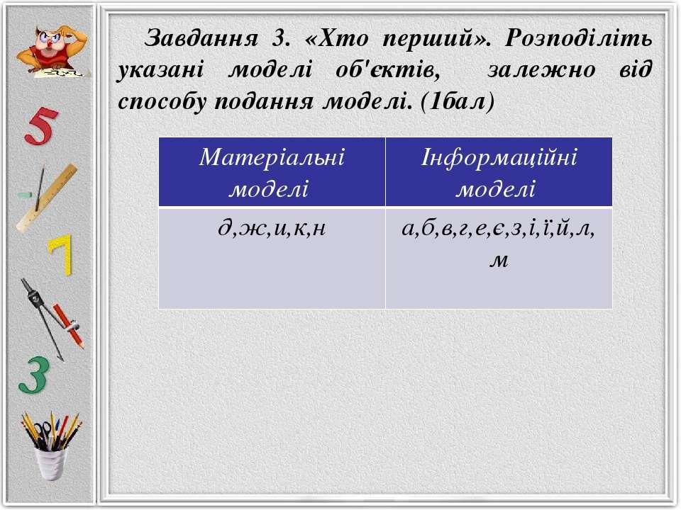 Завдання 3. «Хто перший». Розподіліть указані моделі об'єктів, залежно від сп...