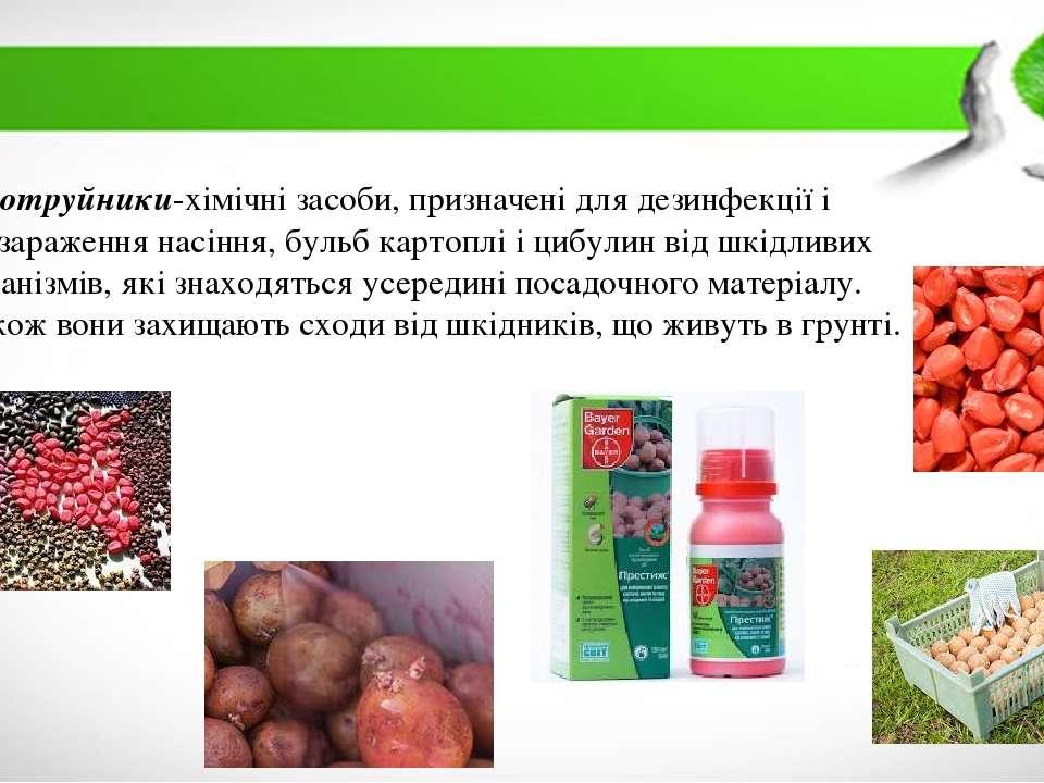 Протруйники-хімічні засоби, призначені для дезинфекції і знезараження насіння...